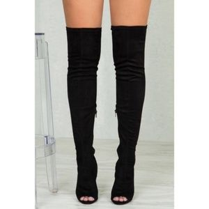 Rouge Helium Black Over The Knee Thigh High Boots